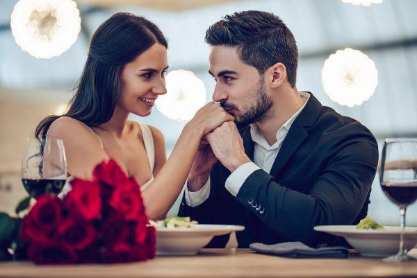 romantic couple at dinner