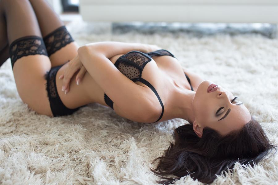 cute women in black lingerie